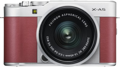 Fujifilm X Series X-A5 Mirrorless Camera Body with 15 - 45 mm Lens F3.5 - 5.6 OIS PZ(Silver, Maroon)