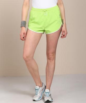 REEBOK Solid Women Green Sports Shorts at flipkart
