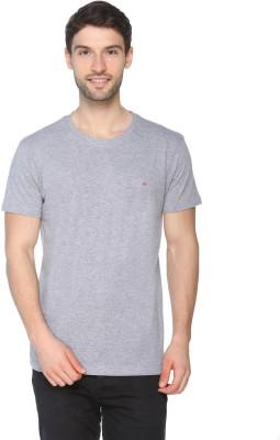 Raves Solid Men Round Neck Grey T Shirt