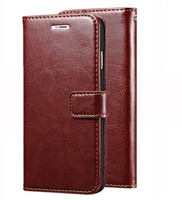SESS XUSIVE Flip Cover for Leather Wallet Flip Book Cover Case For Lava Z91 - (Brown)(Brown, Dual Protection)