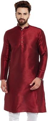 Larwa Men Self Design Straight Kurta(Maroon)