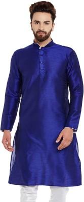 Larwa Men Self Design Straight Kurta(White, Blue)
