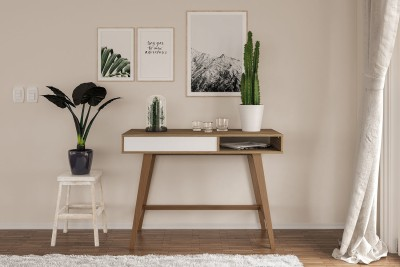 Furn Central Engineered Wood Study Table(Free Standing, Finish Color - White & Brown)