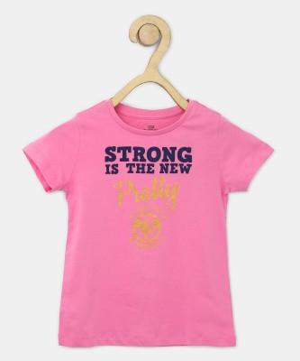 Miss & Chief Girls Printed Cotton Blend T Shirt(Pink, Pack of 1) at flipkart