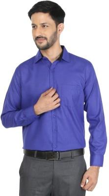 Mark Pollo Men Solid Formal Blue Shirt