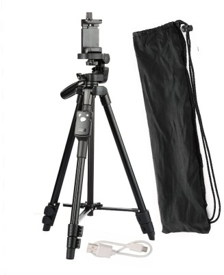 CASADOMANI Good Quality Adjustable Shooting Angle Tripod 3388 Head Height Aluminum Alloy 360 degree down and 90 degree up mobile holder Camera Tripod for Mobiles, Camera, DSLR & Action Camera Selfie Stick With Remote Control Shutter with Three-Dimensional Tripod(Black, Supports Up to 1500 g)