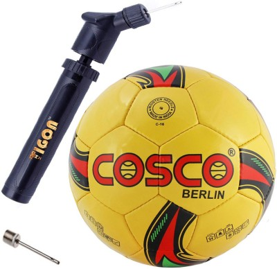 """Cosco Berlin Football """"Color & Design on Availability"""" With Dual Action Ball Pump Football - Size: 5(Pack of 2, Multicolor)"""