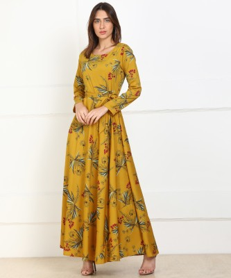 Tokyo Talkies Women Maxi Yellow Dress at flipkart