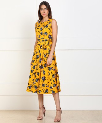 Tokyo Talkies Women Fit and Flare Yellow Dress at flipkart