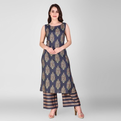Lalita Misri Women Printed Straight Kurta(Grey)