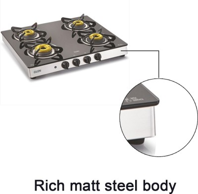GLEN 1042 GT AI Forged Brass Burner Glass Automatic Gas Stove(4 Burners)