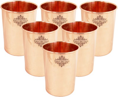 IndianArtVilla Set of Copper Brass Leaf Designed Champange Glasses- 150 ML Each,Drinkware Glass Set(Copper, 600 ml, Brown, Pack of 4)