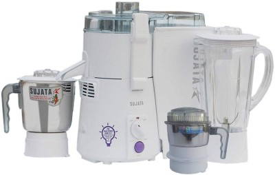 SUJATA POWERMATIC PLUS WITH FREE CHUTNEY JAR 900 WATTS 900 Juicer Mixer Grinder(White, 3 Jars)