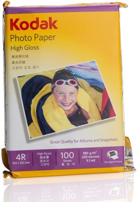 Kodak High Gloss 180GSM 4R ( 102 x 152 mm) Photo Paper For a Lifetime of MEMORIES 100 sheet (pack of 1) Plain 4R (4x6) Photo Paper(Set of 1, White)