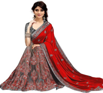 Khushali Collection Embroidered Fashion Silk Blend, Net Saree(Red, Grey)