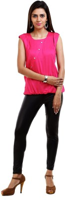 Aayusika Casual Sleeveless Solid Women Pink Top