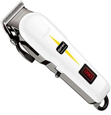 Gemei Gm Professional hair cutting machine with lcd display and rechargeable  Runtime: 40 min Trimmer for Men(White)