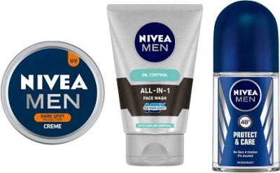 NIVEA MEN MEN Dark Spot Reduction Crme (150ml), All In One Face Wash (100ml), Prodtect & Care Roll On (50ml)  (3 Items in the set)