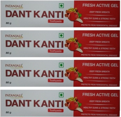 Patanjali Dant Kanti Fresh Active Gel - 80 g (Pack of 4) Toothpaste(80 g, Pack of 4)