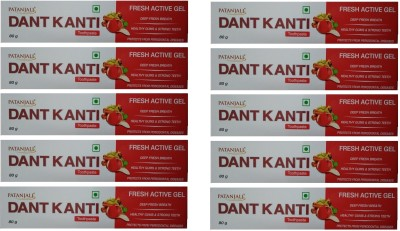 Patanjali Dant Kanti Fresh Active Gel - 80 g (Pack of 10) Toothpaste(80 g, Pack of 10)