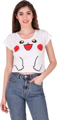 TRICKY Casual Cap Sleeve Printed Women's White Top
