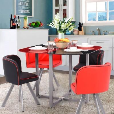 RoyalOak Riga Metal 4 Seater Dining Set(Finish Color - Multicolour)