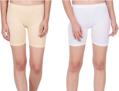Splash Solid Women White, Beige Cycling Shorts