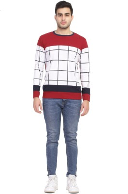 cool n comfort Color Block, Checkered, Solid Men Round Neck Maroon T-Shirt