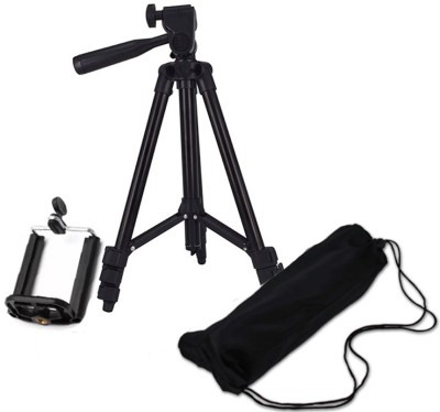 BUY SURETY New Arrival Tripod-3120 Portable Adjustable Aluminum lightweight compact stand With Three-Dimensional Head & Quick Release Plate Tripod professional tripod video Camera Tripod/phone tripod Mount For All Smartphone Tripod(Black, Supports Up to 1500 g) 1