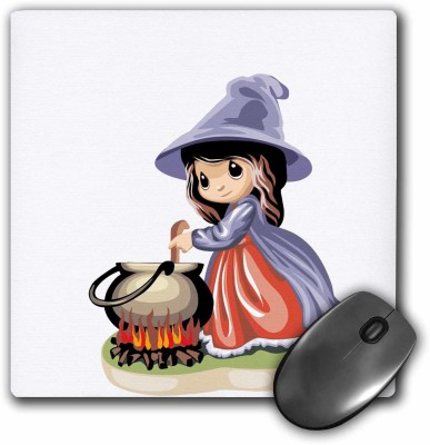 3dRose Little Witch Making Halloween Brew Mousepad(Multicolor)