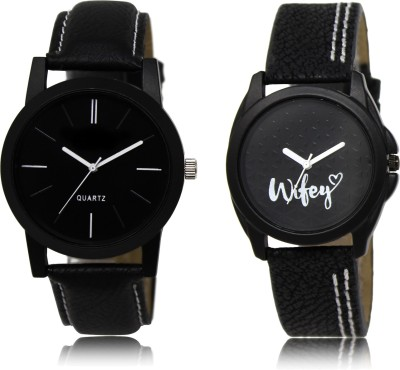 FASHION POOL FULL BLACK PROFESSIONAL ANALOGUE WIFEY DIAL DESIGNER LEATHER BELT WATCH COUPLE COMBO WATCH FOR BOYS_GIRLS new arrival fast selling track designer festival_party_professional_valentine_birthday gift special couple combo watch Analog Watch  - For Couple