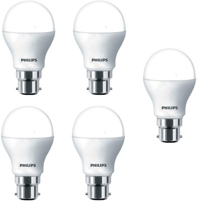 Philips 9 W Standard B22 LED Bulb(White, Pack of 5)