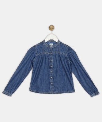 Pepe Jeans Girls Casual Cotton Blend Shirt Style Top(Blue, Pack of 1) at flipkart