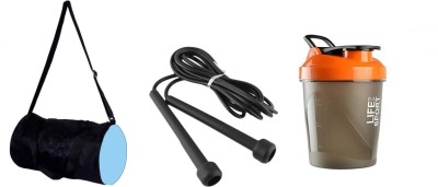 S.Blaze Combo of Blue Bag, Proton Shaker, & Pencil Skipping Rope Gym & Fitness Kit