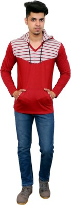 FARICON Striped Men Hooded Neck Grey, Red T-Shirt