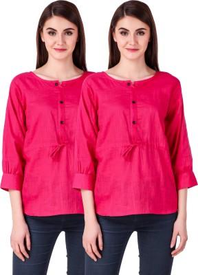 Fit N Fine Casual Cuffed Sleeve Self Design Women Multicolor Top