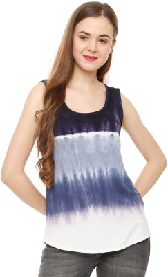 People Casual Sleeveless Striped Women Blue Top