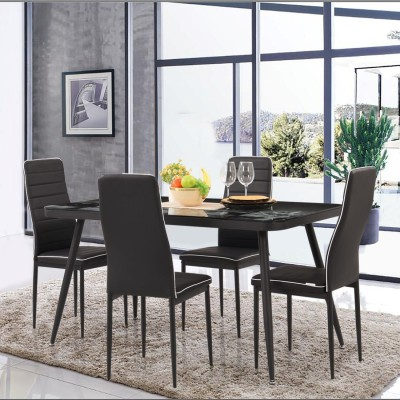 RoyalOak Rover Glass 4 Seater Dining Set(Finish Color - Dark brown)