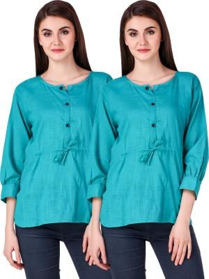 Fit N Fine Casual Cuffed Sleeve Self Design Women Light Blue Top