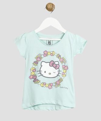 Miss & Chief Hello Kitty Girls Printed Cotton Blend T Shirt(Light Blue, Pack of 1) at flipkart