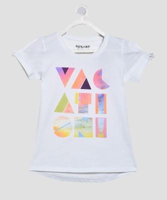 Miss & Chief Girls Printed Cotton Blend T Shirt(White, Pack of 1) at flipkart