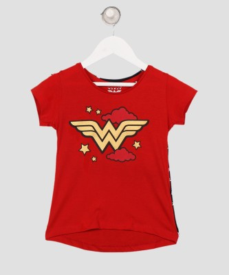 Miss & Chief DC Girls Printed Cotton Blend T Shirt(Red, Pack of 1) at flipkart