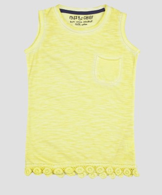 Miss & Chief Girls Casual Cotton Blend Top(Yellow, Pack of 1) at flipkart
