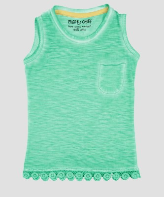 Miss & Chief Girls Casual Cotton Blend Top(Green, Pack of 1) at flipkart