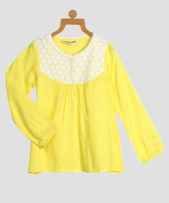 Miss & Chief Girls Cotton Viscose Blend A-line Top(Yellow, Pack of 1) at flipkart