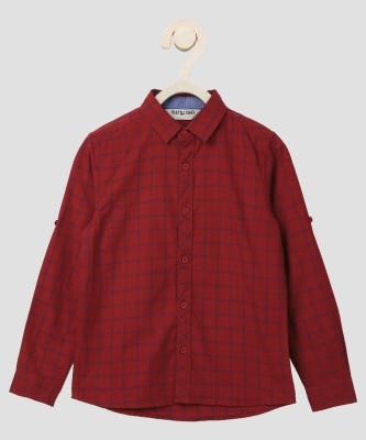 Miss & Chief Boys Checkered Casual Red Shirt at flipkart