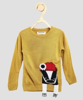 Miss & Chief Self Design Crew Neck Casual Girls Yellow Sweater at flipkart