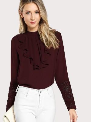Alfa Fashion Casual Regular Sleeve Self Design Women Maroon Top
