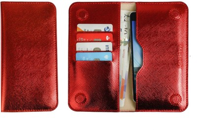 Emartbuy Wallet Case Cover for Realme 3 Pro(Metallic Red Plain, Dual Protection)