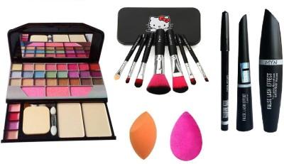 MYN 6155 Makeup Kit Mini Laptop Eye Shadow & Brush Set Black & EyeLiner Kajal Mascara & 2 Puff(7 Items...